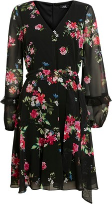 Wallis Black Floral Print Ruffle Sleeve Dress