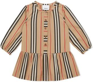 BURBERRY KIDS Icon Stripe gathered poplin dress