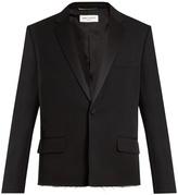 Saint Laurent Raw-edge grain de poudre wool tuxedo jacket