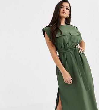 Asos DESIGN Petite utility pocket sleeveless belted midi dress
