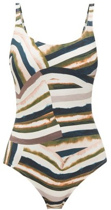 Marios Schwab On The Island By Gialos Printed Square-neck Swimsuit - Womens - Pink Multi