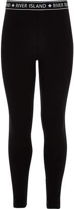 River Island Girls black RI waistband leggings