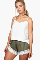 boohoo Plus Lydia Crochet Trim Beach Short khaki