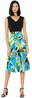 Donna Morgan Sleeveless Stretch Knit Jersey Fit-and-Flare Dress with Pleated Skirt (Green/Blue) Women's Clothing