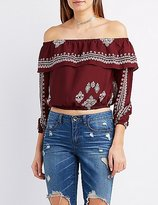 Charlotte Russe Printed Ruffle Off-The-Shoulder Top