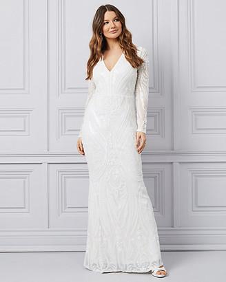 Le Château Mesh & Sequin Deep V Gown
