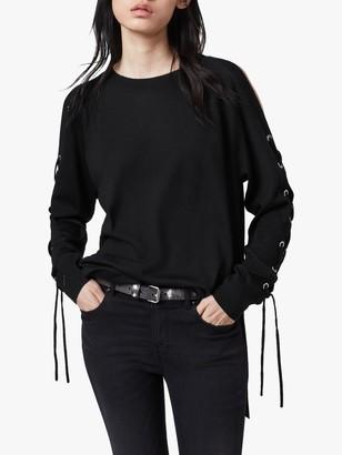 AllSaints Cross Merino Wool Jumper, Black