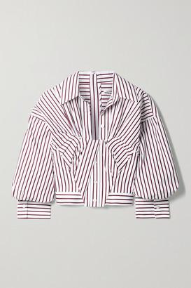Alexander Wang Gathered Cropped Striped Cotton-poplin Shirt - White