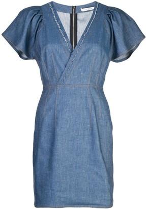 Derek Lam 10 Crosby Cap Sleeve Fitted Denim V-Neck Dress