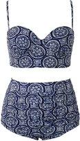 Qiaoer Womens Plus Size Vintage Push up Halter High Waisted Bikini Swimsuit Set (FBA) (M, )