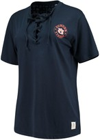 Unbranded Women's Pressbox Navy Auburn Tigers Sherry Lace-Up T-Shirt