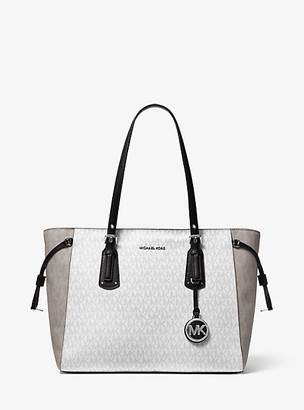 MICHAEL Michael Kors MK Voyager Medium Two-Tone Logo Tote Bag - White Combo - Michael Kors