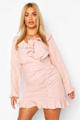 boohoo Plus Ruffle Hem Wrap Dress