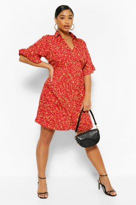 boohoo Plus Floral Woven Tiered Smock Dress