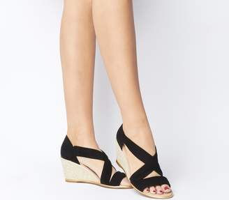 Office Maiden Cross Strap Wedges Black Suede With Gold Rand