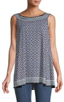 Max Studio Printed Sleeveless Trapeze Top