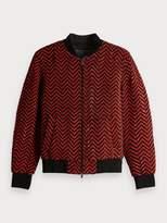 Scotch & Soda Braided Leather Bomber Jacket