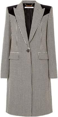 Givenchy Velvet-paneled Houndstooth Wool Coat