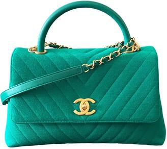 Chanel Coco Handle Green Cloth Handbags