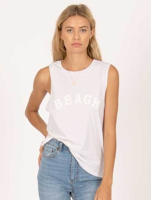 Amuse Society Beach Rat Muscle Tee Vintage White - XS