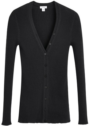 Cotton Cashmere Rib Cardigan