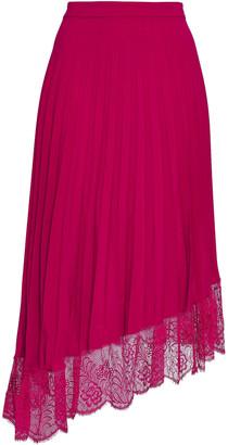 A.L.C. Claude Asymmetric Lace-trimmed Crepe De Chine Midi Skirt