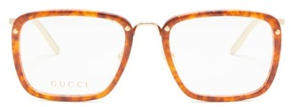 Gucci Square Tortoiseshell-acetate And Metal Glasses - Clear