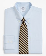 Brooks Brothers Stretch Regent Fitted Dress Shirt, Non-Iron Twill Button-Down Collar Micro-Check