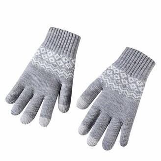 xuebinghualoll Unisex Winter Touch Screen Gloves Snow Flower Printing Keep Warm Knit Gloves Plus Velvet Outdoor Gloves