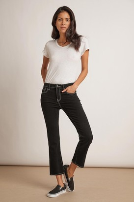 Velvet by Graham & Spencer Kaia Mid Rise Contrast Stitching Crop Jean