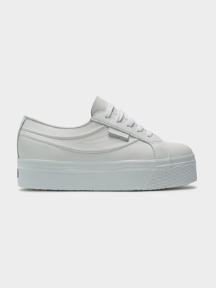 Superga Womens Leather Nappa Swallow Sneakers in White