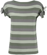 Emporio Armani striped T-shirt - women - Polyester/Viscose - 38