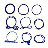 Top Cheer 9 Pcs/Set Korean Girls Elastic Hair Bands Hairband Hairbands Ponytail Holders Set (Navy blue)
