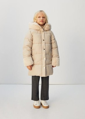 MANGO Faux fur hood quilted coat