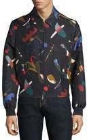 Salvatore Ferragamo Runway Abstract-Print Silk & Cotton Blouson Jacket