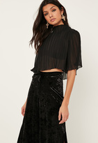 Missguided Petite Exclusive Black Grown On Neck Top