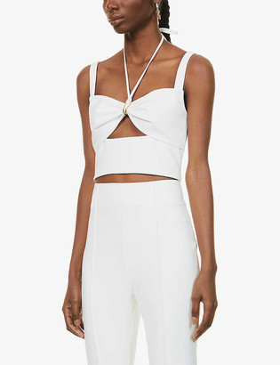Dion Lee Halterneck cropped stretch-jersey top