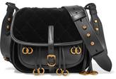 Prada Messenger Leather And Quilted Velvet Shoulder Bag - Black