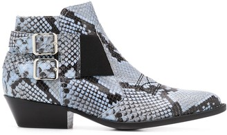Pollini Snakeskin Ankle Boots