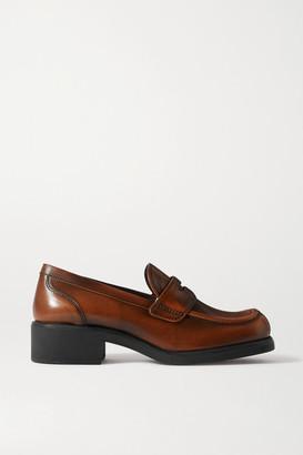Miu Miu Leather Loafers - Brown