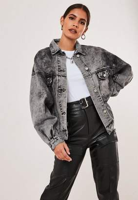 Missguided Gray 80S Batwing Oversized Denim Jacket