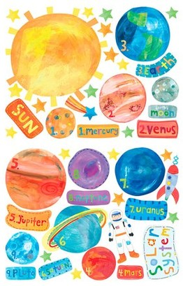 Wallies Solar System Vinyl Decals, 45 Pieces