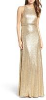 Jenny Yoo Women's Sloane Sequin Halter Gown