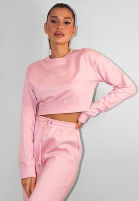Missguided Pink Crop Sweatshirt
