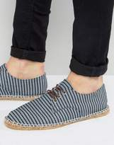 Asos Derby Espadrilles in Striped Navy Canvas