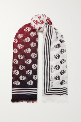 Alexander McQueen Fringed Printed Modal Scarf - Ivory
