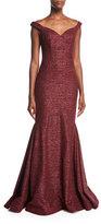 Jovani Metallic Off-the-Shoulder Evening Gown