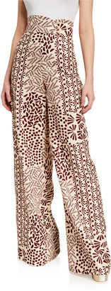 Alexis Neassa Printed High-Rise Button Pants