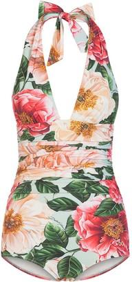 Dolce & Gabbana Floral-Print Halterneck Swimsuit
