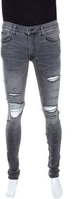 Amiri Grey Washed Denim Distressed Skinny Jeans M